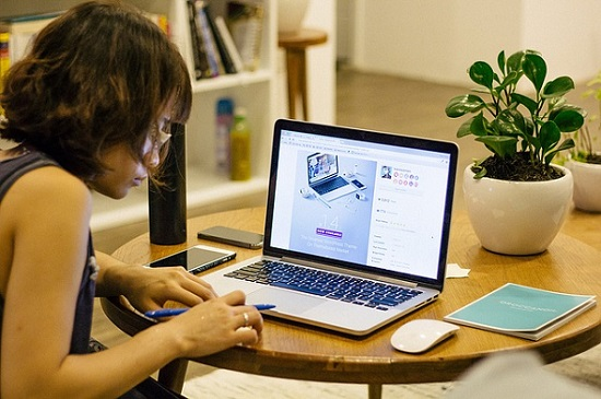 a lady working online from home